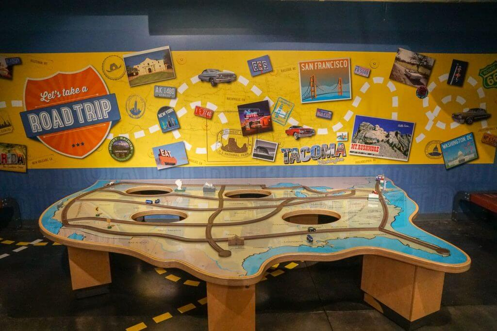 Kids can learn how to plan a road trip through this hands on exhibit in the kids zone at America's Car Museum in Tacoma, WA
