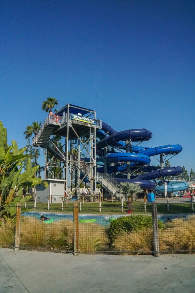 Kids 42 inches and taller will love racing down the waterslides at Laguna Storm Watch Tower at Knotts Soak City in Buena Park CA