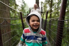 Is it crazy to take a toddler to the Capilano Suspension Bridge Park in Vancouver, British Columbia Canada? Get my top tips for Capilano with kids. | Capilano Suspension Bridge Park visit featured by top US family travel blogger, Marcie in Mommyland
