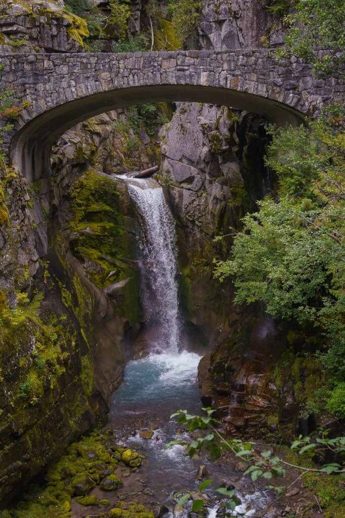 One of the best kid-friendly stops at Mount Rainier National Park is Christine Falls.