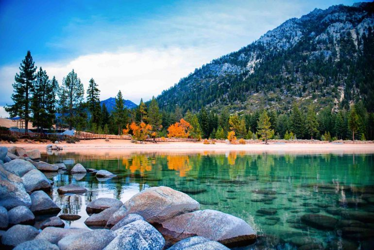 11 Best Fall Destinations in the US featured by top US family travel blogger, Marcie in Mommyland: Avoid the crowds by visiting Lake Tahoe in the fall.