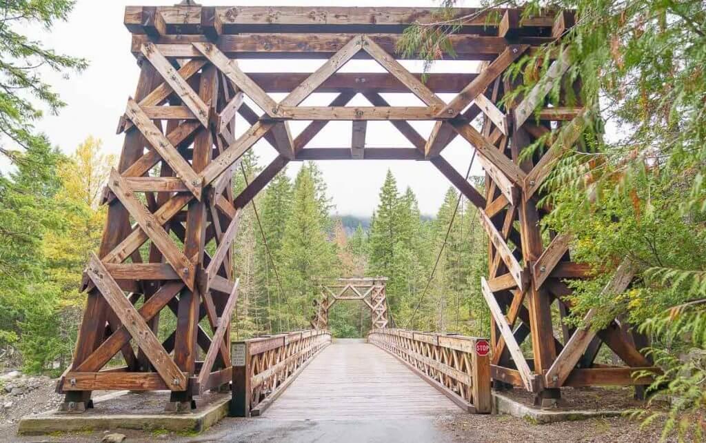 The Longmire Suspension Bridge is a fun stop at Mount Rainier National Park in Washington State
