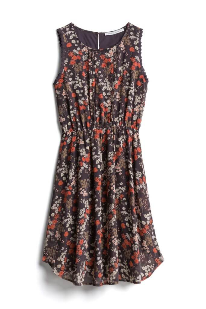 For warmer fall days, throw on this floral dress that is perfect for warm autumn days