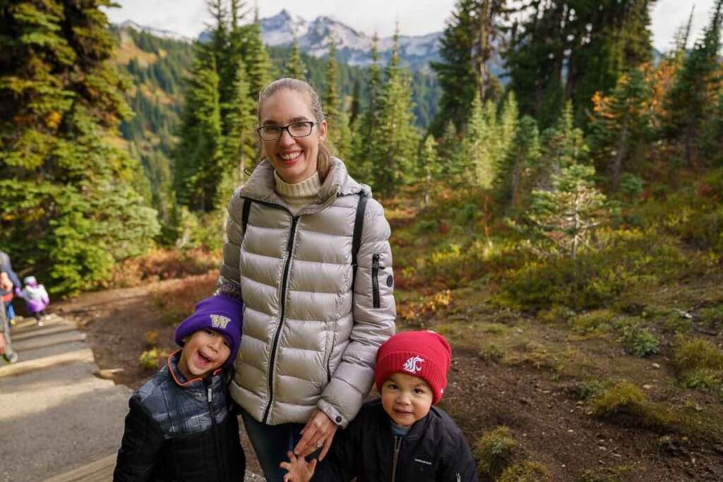 Make sure to pack lots of warm clothes when visiting Mount Rainier with kids.