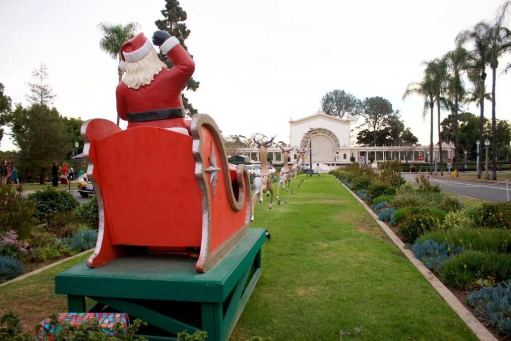 The Best Warm Places to Visit in December in the USA featured by top US travel blogger, Marcie in Mommyland: Christmas decorations at Balboa Park in San Diego