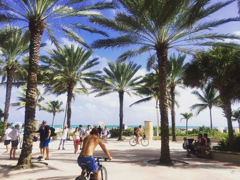 The Best Warm Places to Visit in December in the USA featured by top US travel blogger, Marcie in Mommyland: Miami Beach at Christmas