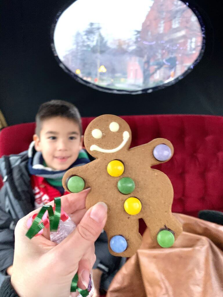 Christmas in Victoria BC: the Best Kid Friendly Festivities featured by top US family travel blogger, Marcie in Mommyland: Gingerbread man with candies