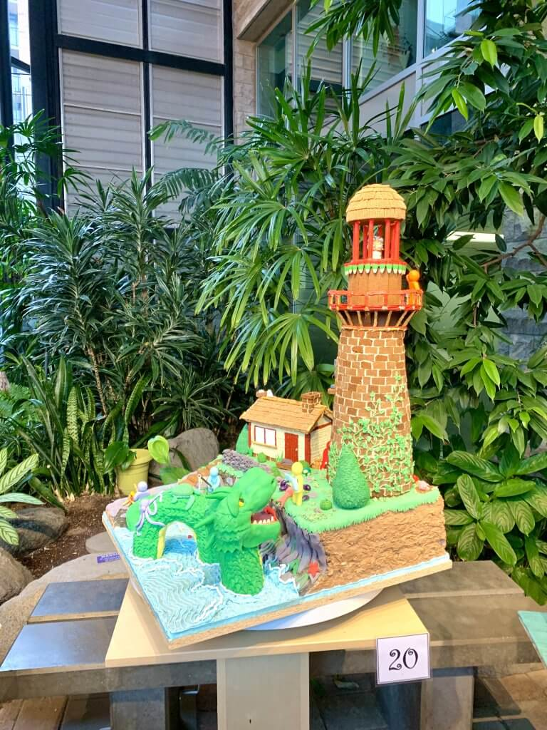 Christmas in Victoria BC: the Best Kid Friendly Festivities featured by top US family travel blogger, Marcie in Mommyland: Amateur gingerbread creation witha lighthouse and sea creature