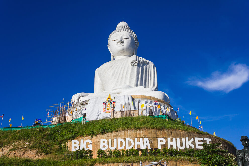 Where to Stay in Phuket with Kids, travel tips featured by top family travel blogger, Marcie in Mommyland: Big Buddha monument on the island of Phuket in Thailand