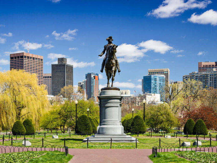 Top 7 Day Trips from Boston featured by top US travel blogger, Marcie in Mommyland: Boston, Massachusetts at the Public Garden in the spring time.