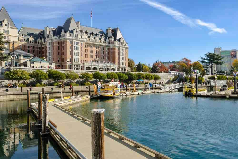 Victoria, Canada - October 21,2018: Beautiful view of Victoria Inner Harbour and the Fairmont Empress Hotel in British Columbia, Canada.