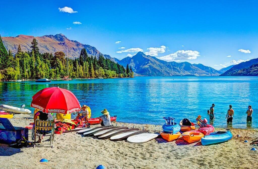 Top 12 Things to do in Queenstown with Kids featured by top family travel blogger, Marcie in Mommyland: Queenstown Beach is a fun place to go in Queensland with kids