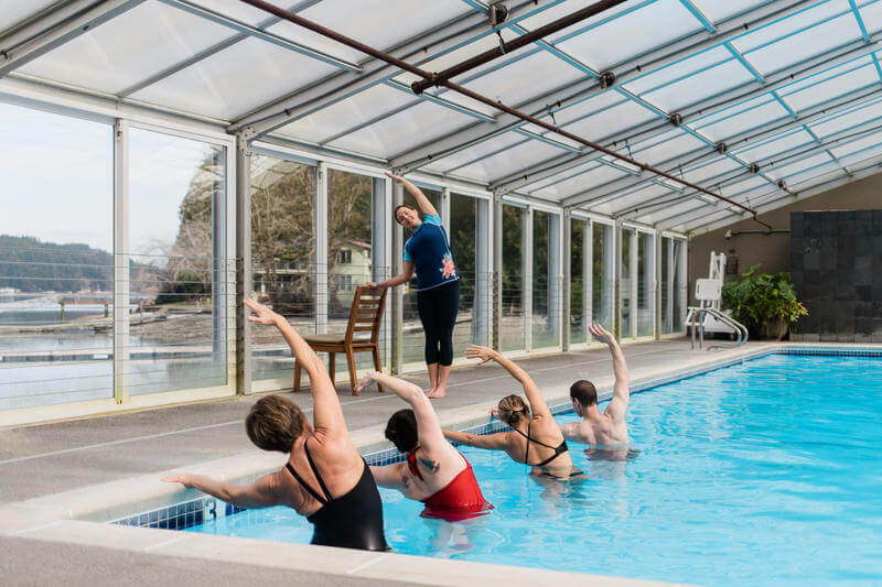 Alderbrook Resort & Spa Review featured by top Seattle travel blogger, Marcie in Mommyland: swimming pool
