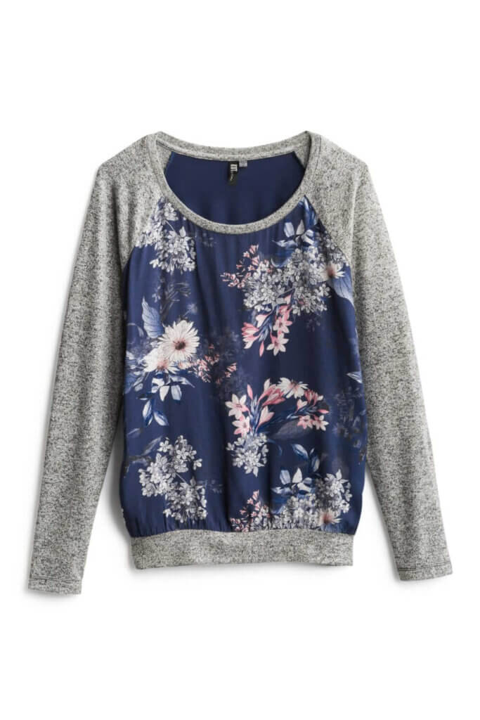 Stitch Fix Unboxing & Try On: June 2020 featured by top Seattle lifestyle blogger, Marcie in Mommyland: image of Benter Mixed Material Top by Kut from the Kloth