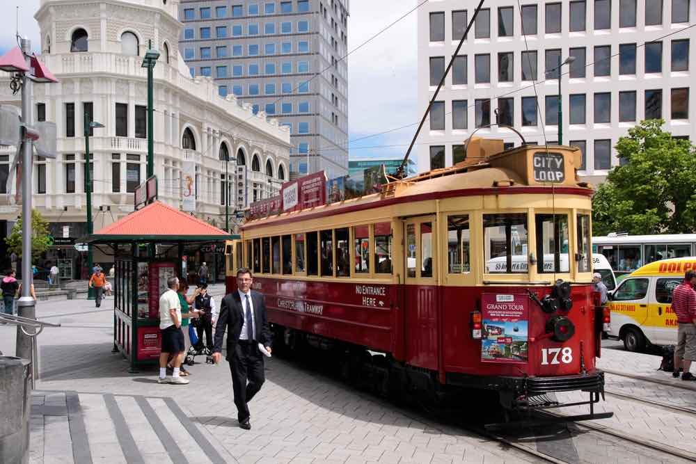 Things to do in Christchurch with Kids, a weekend itinerary featured by top travel blogger, Marcie in Mommyland: Christchurch Tram at the Cathedral Square in New Zealand