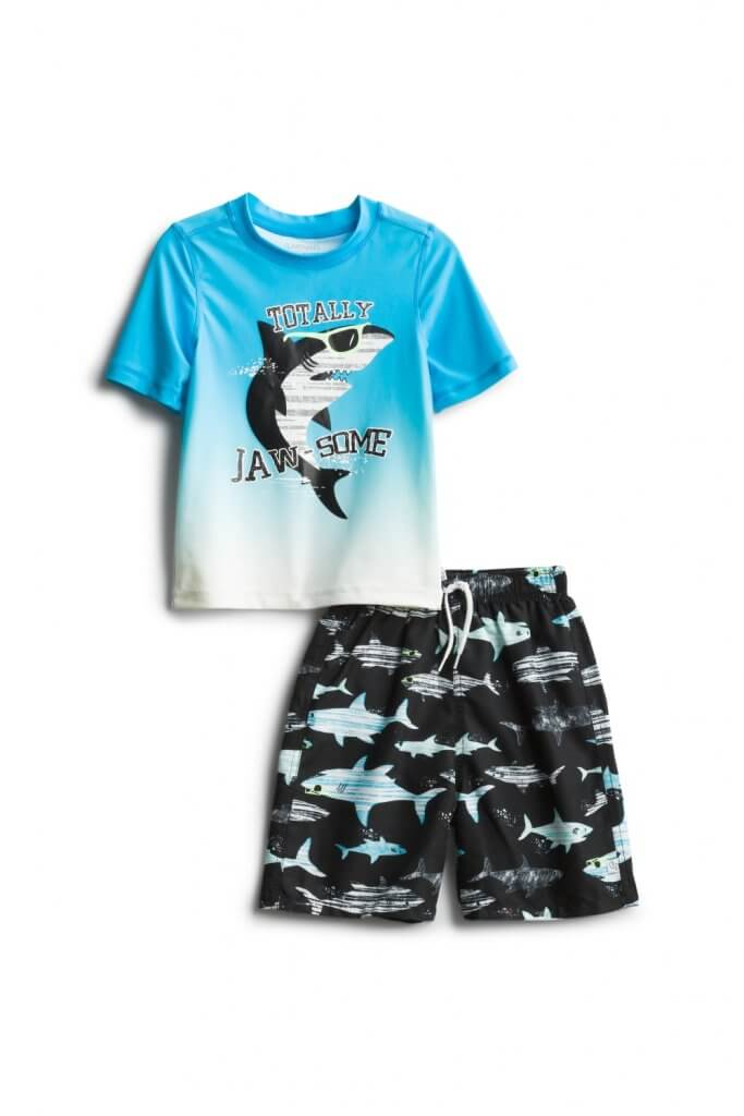 Stitch Fix Kids Unboxing & Try On: Summer 2020 featured by top Seattle lifestyle blogger, Marcie in Mommyland: image of Flapdoodles Orval Rashguard Swim Set