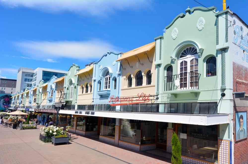 Things to do in Christchurch with Kids, a weekend itinerary featured by top travel blogger, Marcie in Mommyland: New Regent Street in Christchurch, New Zealand