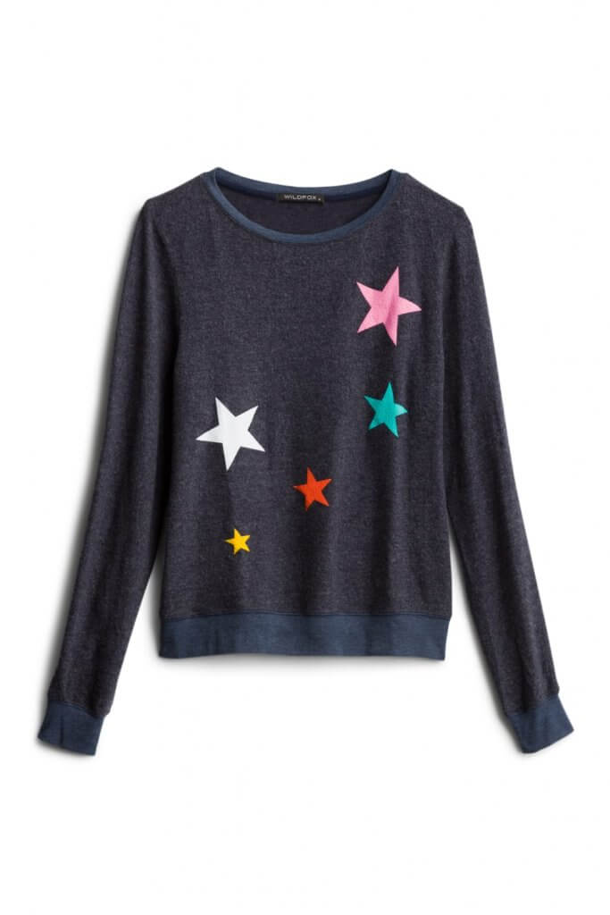 Stitch Fix Unboxing & Try On: June 2020 featured by top Seattle lifestyle blogger, Marcie in Mommyland: image of Scatter Star Crewneck Sweatshirt by Wildfox
