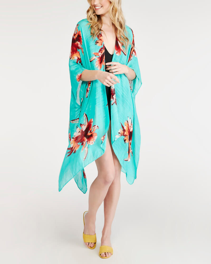 Wantable Style Edit Unboxing & Try On: July 2020 featured by top Seattle lifestyle blogger, Marcie in Mommyland: image of Bold Floral Kaftan in Teal