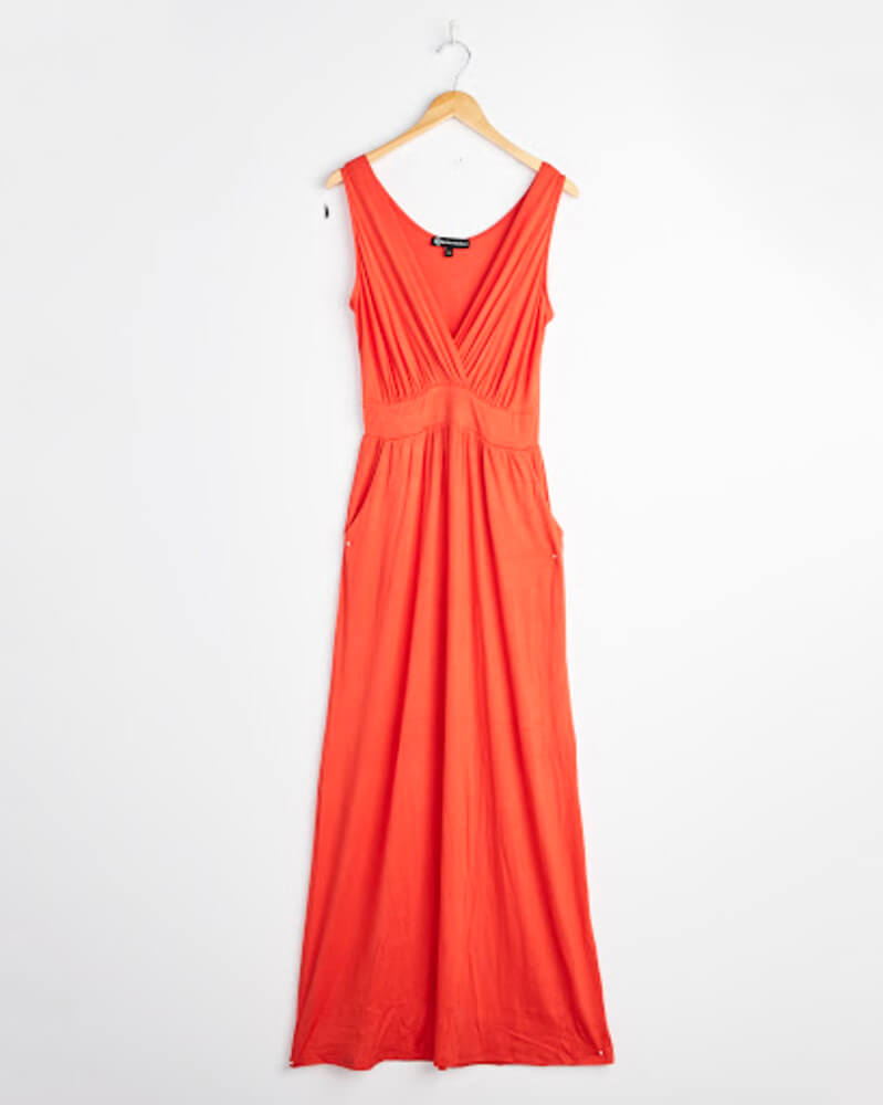 Wantable Style Edit Unboxing & Try On: July 2020 featured by top Seattle lifestyle blogger, Marcie in Mommyland: image of Sleeveless Maxi Dress in Fiesta Red