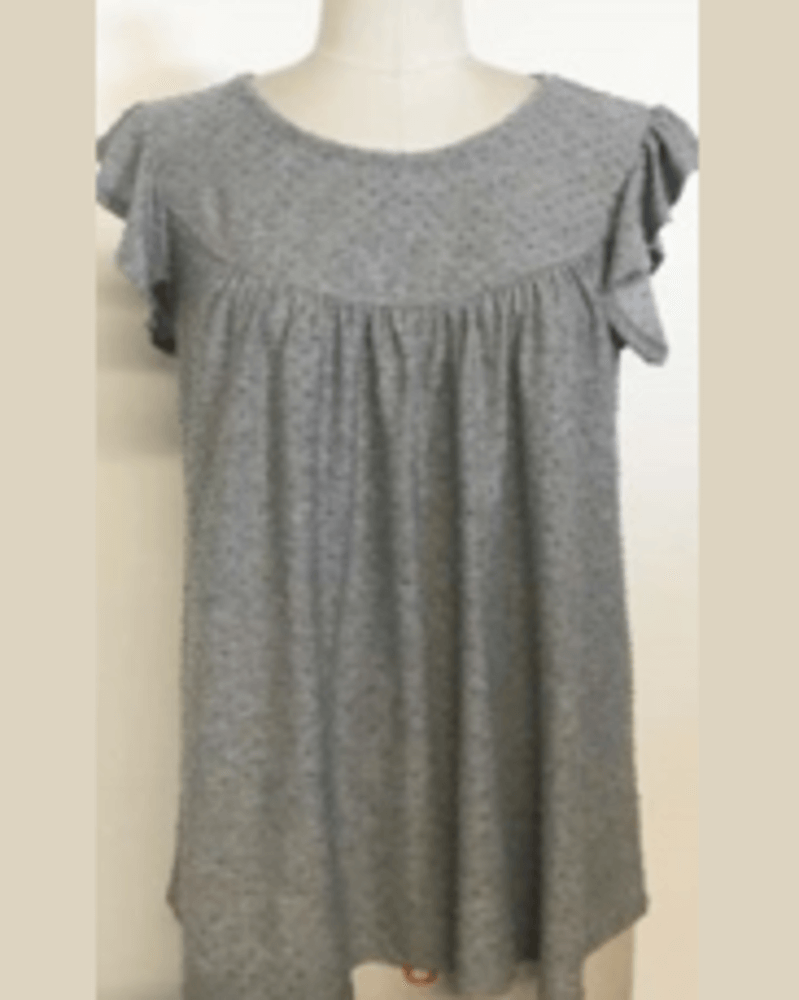 Wantable Style Edit Unboxing & Try On: July 2020 featured by top Seattle lifestyle blogger, Marcie in Mommyland: image of Swiss Dot Flounce Sleeve Top in Gray
