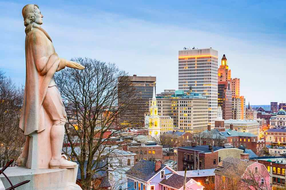 Top 7 Day Trips from Boston featured by top US travel blogger, Marcie in Mommyland: Providence, Rhode Island city skyline from Prospect Terrace Park.