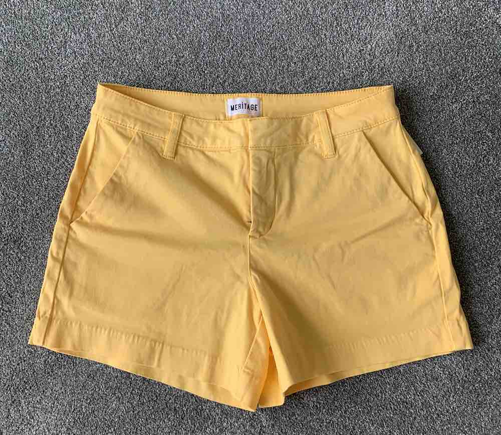 Wantable Style Edit Unboxing & Try On: August 2020 featured by top Seattle lifestyle blogger, Marcie in Mommyland: image of Chino Short in Buffy Yellow