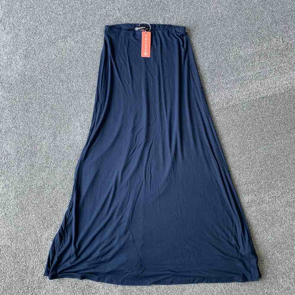 Wantable Style Edit Unboxing & Try On: August 2020 featured by top Seattle life and style blogger, Marcie in Mommyland: image of W. by Wantable Navy Blue Maxi Skirt