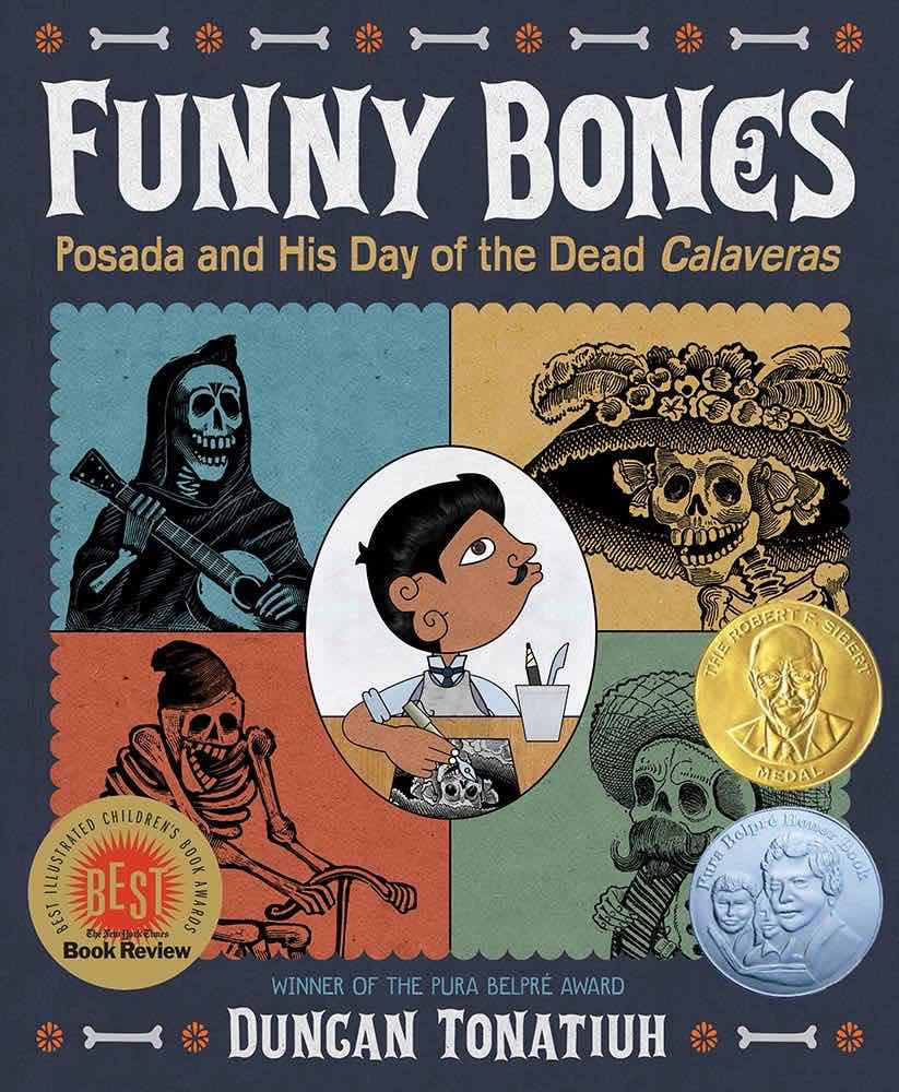 Top 15 Day of the Books for Kids Worth Reading featured by top Seattle lifestyle blogger, Marcie in Mommyland: Funny Bones Posada and his day of the Dead Calaveras