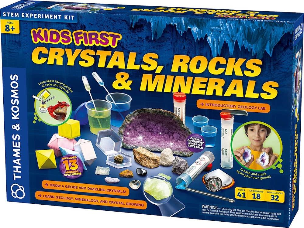 13 Best Science Kits for 6 Year Olds featured by top Seattle lifestyle blogger, Marcie in Mommyland: Kids First Crystals, Rocks, and Minerals science kit for 6 year olds