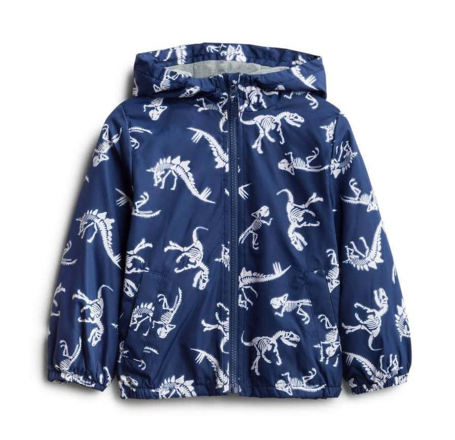 Stitch Fix Kids Unboxing & Try On: Fall 2020 featured by top Seattle lifestyle blogger, Marcie in Mommyland: image of a Dinosaur Raincoat