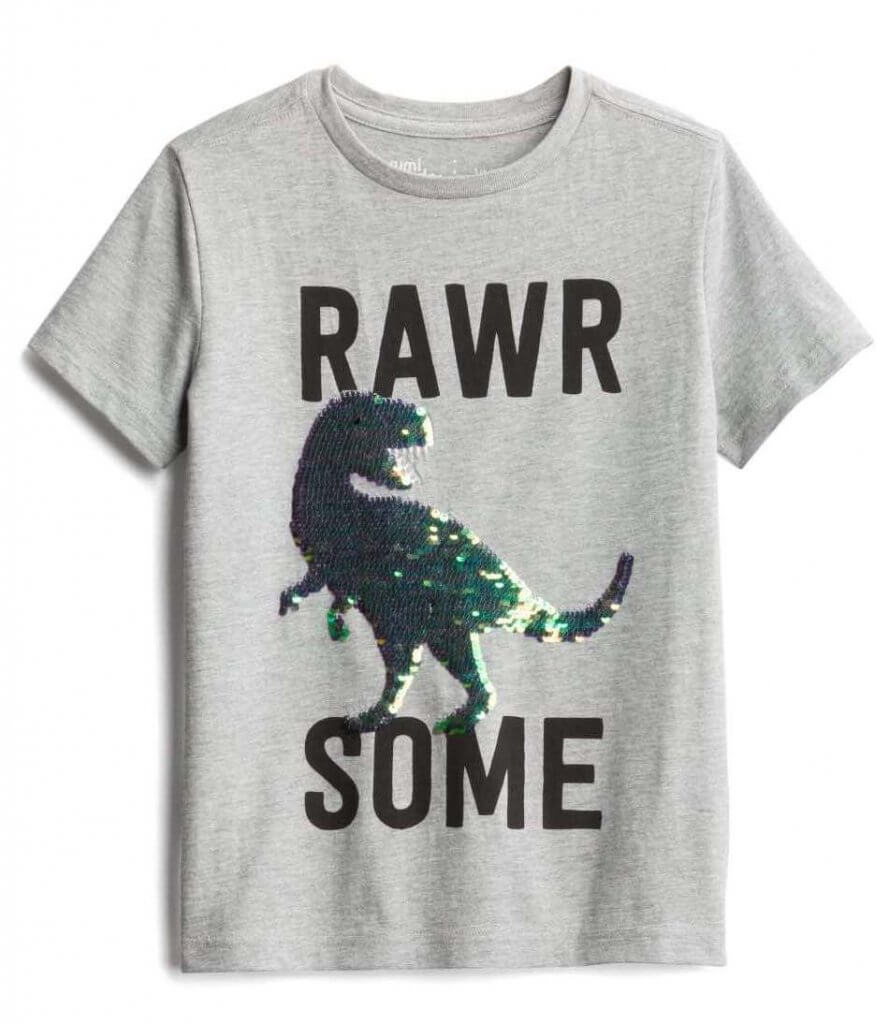 Stitch Fix Kids Unboxing & Try On: Fall 2020 featured by top Seattle lifestyle blogger, Marcie in Mommyland: image of a Rumi + Ryder Dinosaur Graphic Tee