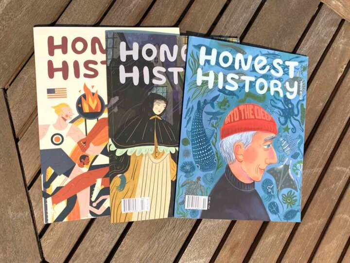 Honest History Magazine review featured by top Seattle lifestyle blogger, Marcie in Mommyland: Honest History is a great Magazine for Kids. Image of 3 issues of Honest History kids magazine