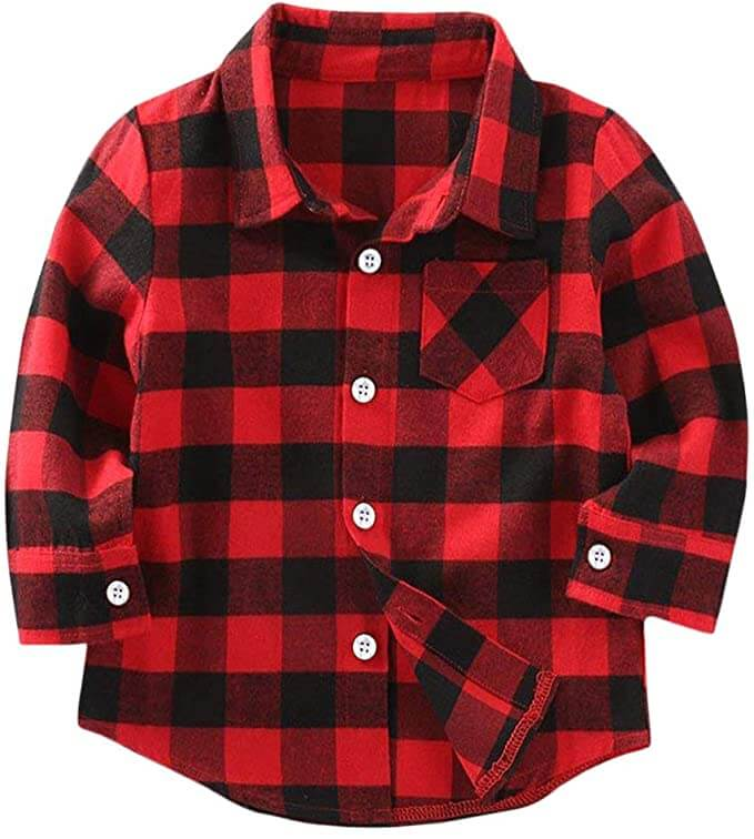 How to take your own DIY Christmas Family Portraits, tips featured by top Seattle lifestyle blogger, Marcie in Mommyland. How to take buffalo plaid family Christmas pictures. Image of a buffalo plaid shirt for kids.