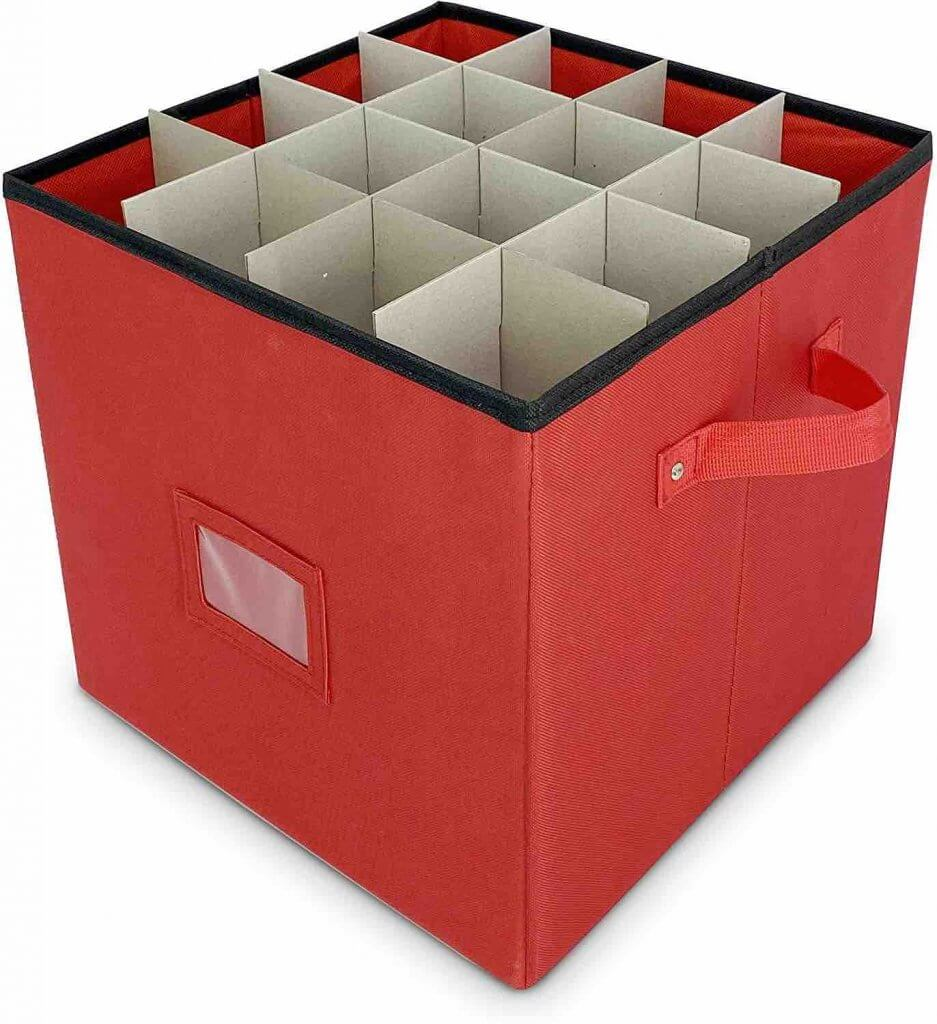 How to Store Christmas Ornaments So They Won't Break, tips featured by top Seattle lifestyle blogger, Marcie in Mommyland: Buy a Christmas ornament storage box on Amazon. Image of a box with dividers for Christmas ornaments
