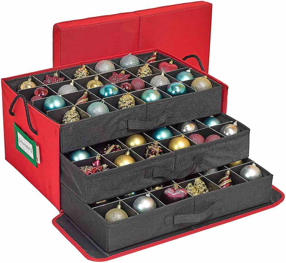 How to Store Christmas Ornaments So They Won't Break, tips featured by top Seattle lifestyle blogger, Marcie in Mommyland: Use this Christmas ornament storage box for small ornaments. Image of a box with sliding drawers to store Christmas ornaments.