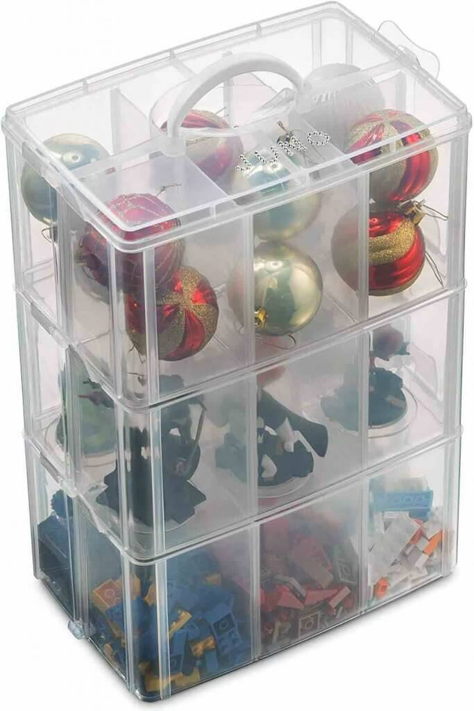 How to Store Christmas Ornaments So They Won't Break, tips featured by top Seattle lifestyle blogger, Marcie in Mommyland: Use this clear Christmas storage box to sort your ornaments.