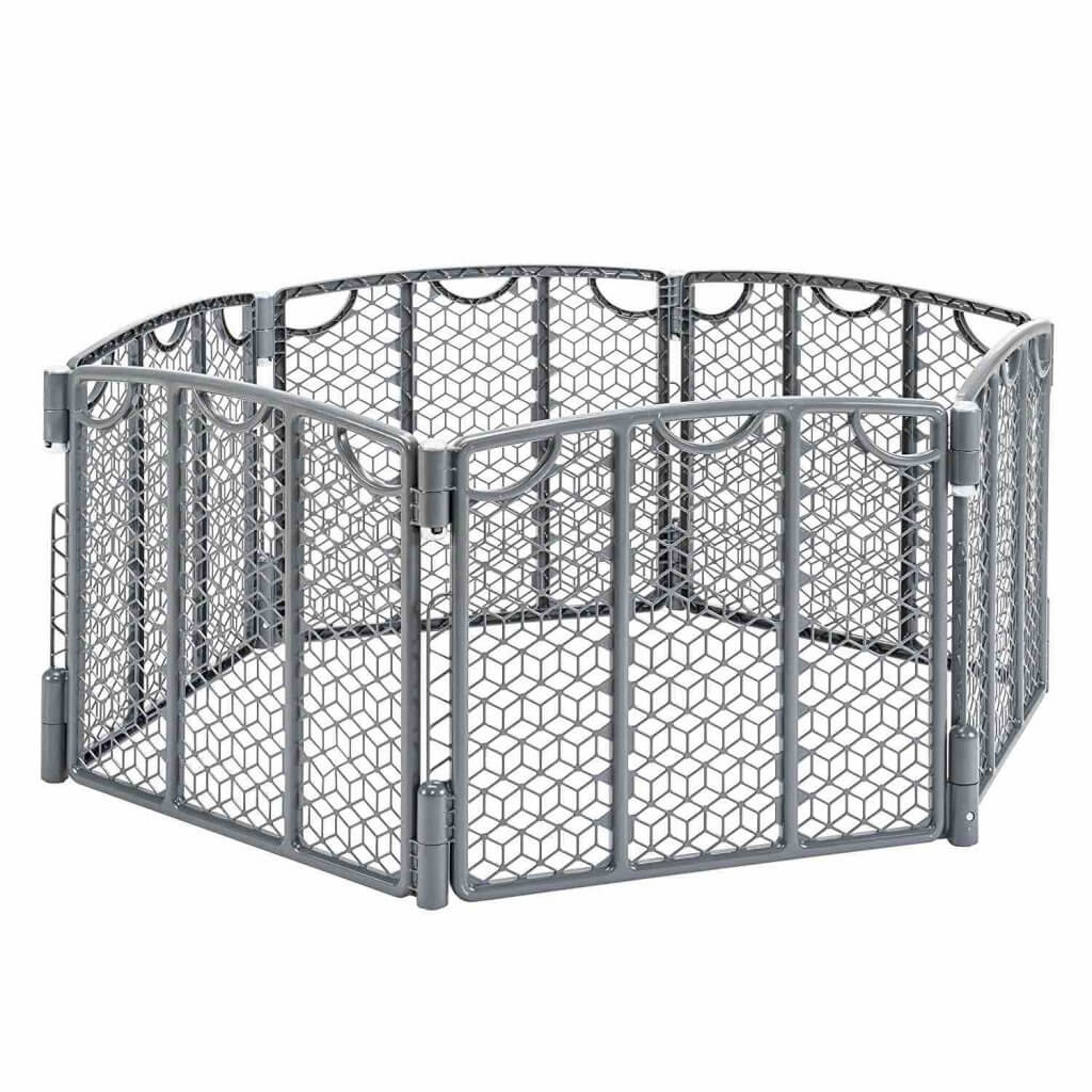 10 Best Secret Places to Hide Christmas Presents featured by top US lifestyle blogger, Marcie in Mommyland featured by top Seattle lifestyle blogger, Marcie in Mommyland: Use a playpen to childproof your home at Christmas. Image of an Evenflo Play Pen