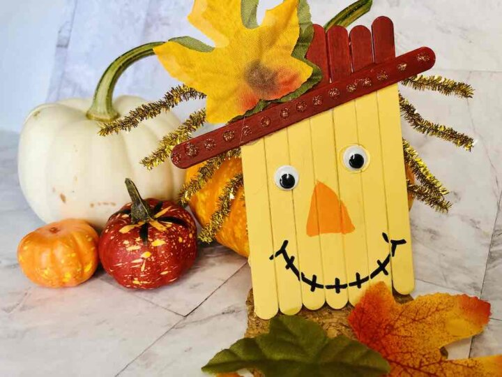 Learn how to make a Popsicle Stick Scarecrow Craft from top Seattle blog Marcie in Mommyland. Image of a popsicle stick scarecrow face in front of mini pumpkins