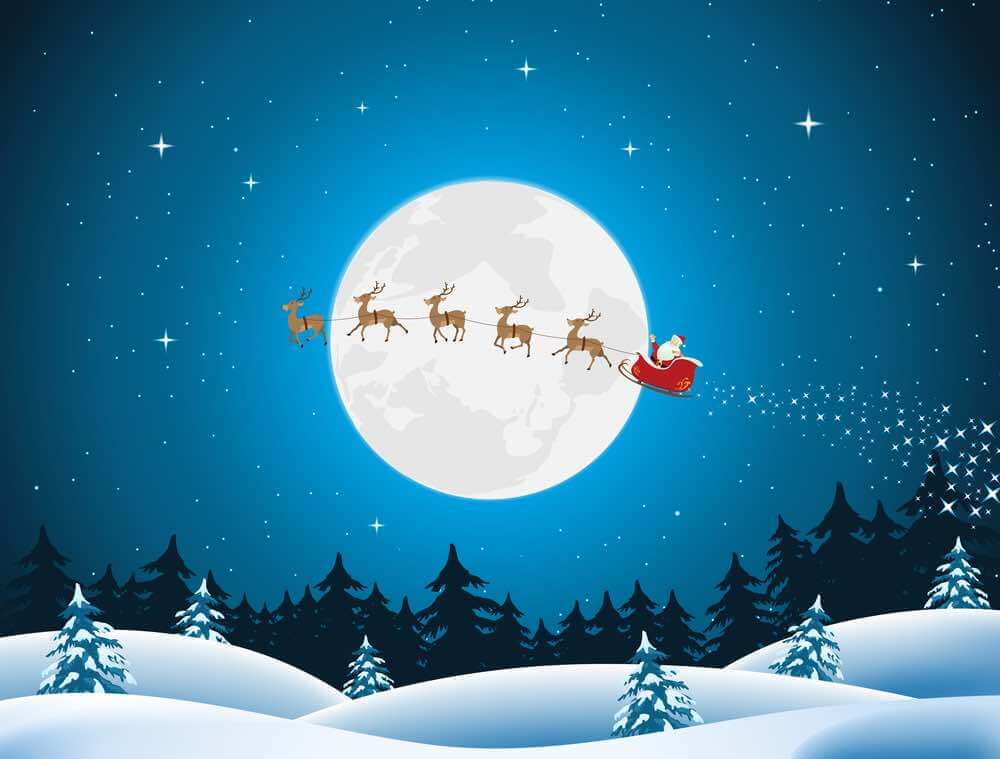15 Free Festive Christmas Traditions That Don't Cost a Dime featured by top Seattle lifestyle blogger, Marcie in Mommyland: You can track Santa's progress on Christmas Eve. Image of Illustration of santa driving the sleigh and his reindeer through the night.