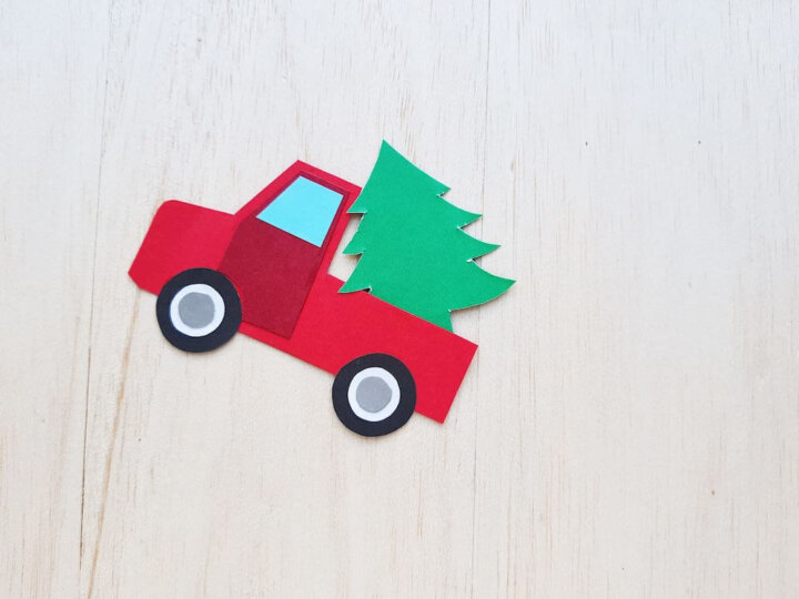 Red Truck with Christmas Tree Craft Tutorial, a Christmas Crafts featured by top Seattle lifestyle blogger, Marcie in Mommyland
