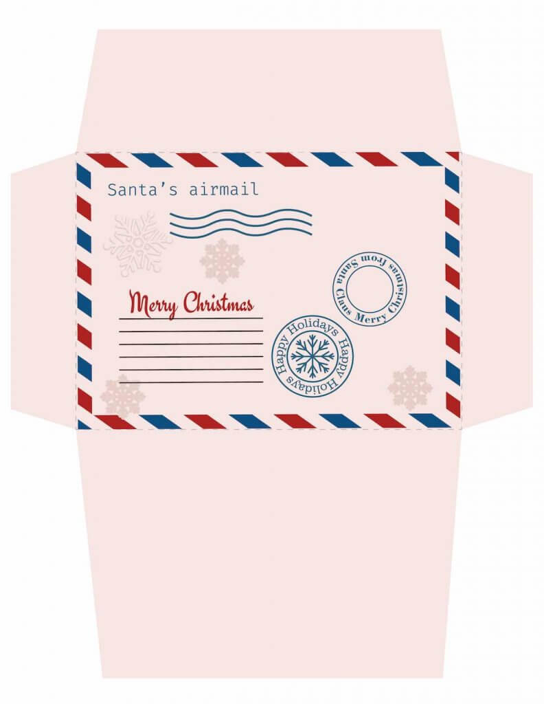 Free printable Christmas envelope that's pink. Image of a pink, unfolded printable Christmas envelope