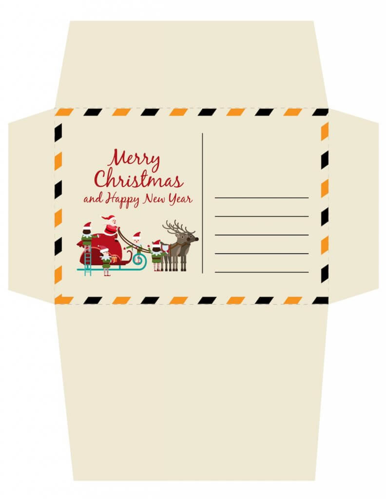 Free printable Christmas envelope for a letter to Santa. Image of an unfolded Merry Christmas envelope