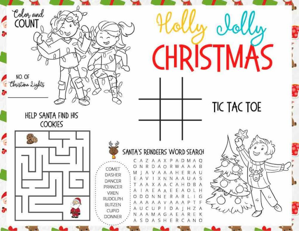 Free Christmas activity mat for kids by top Seattle blog Marcie in Mommyland