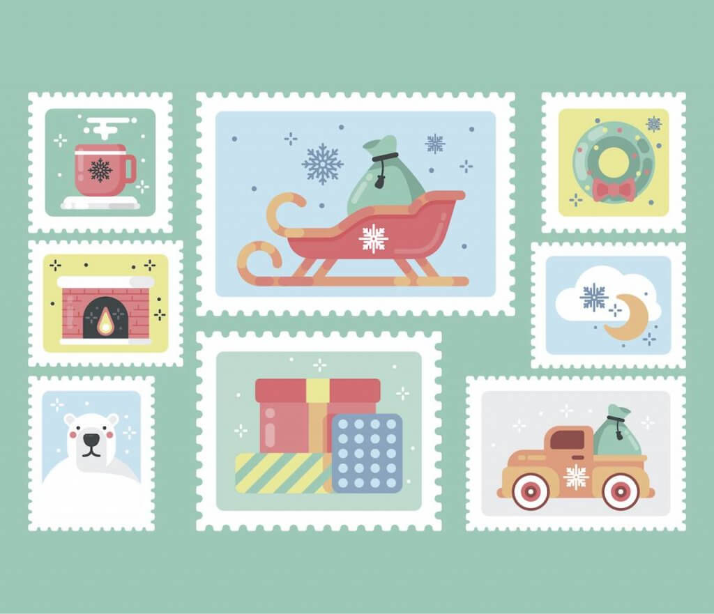 Free printable Christmas stamps to put on a letter to Santa. Image of decorative printable Christmas stamps
