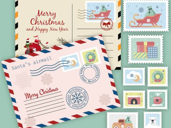 Free printable Christmas envelopes and stamps for writing a letter to Santa