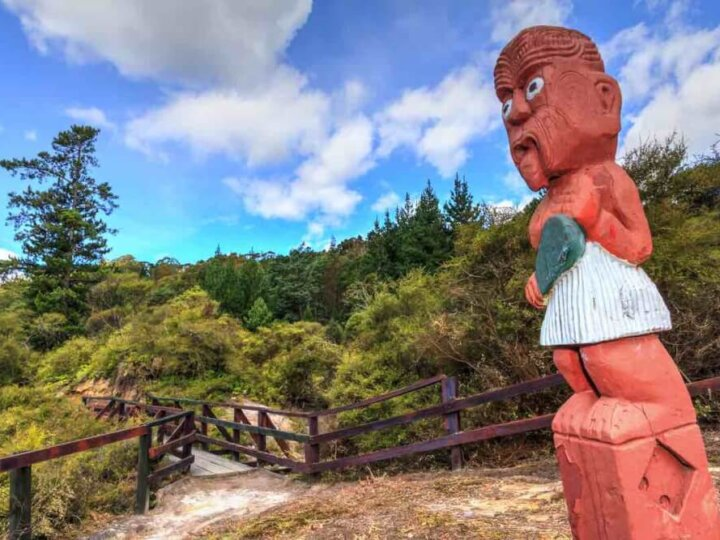 Find out all the cool things to do in Rotorua New Zealand. Image of a Maori carving in the forest of Rotorua NZ