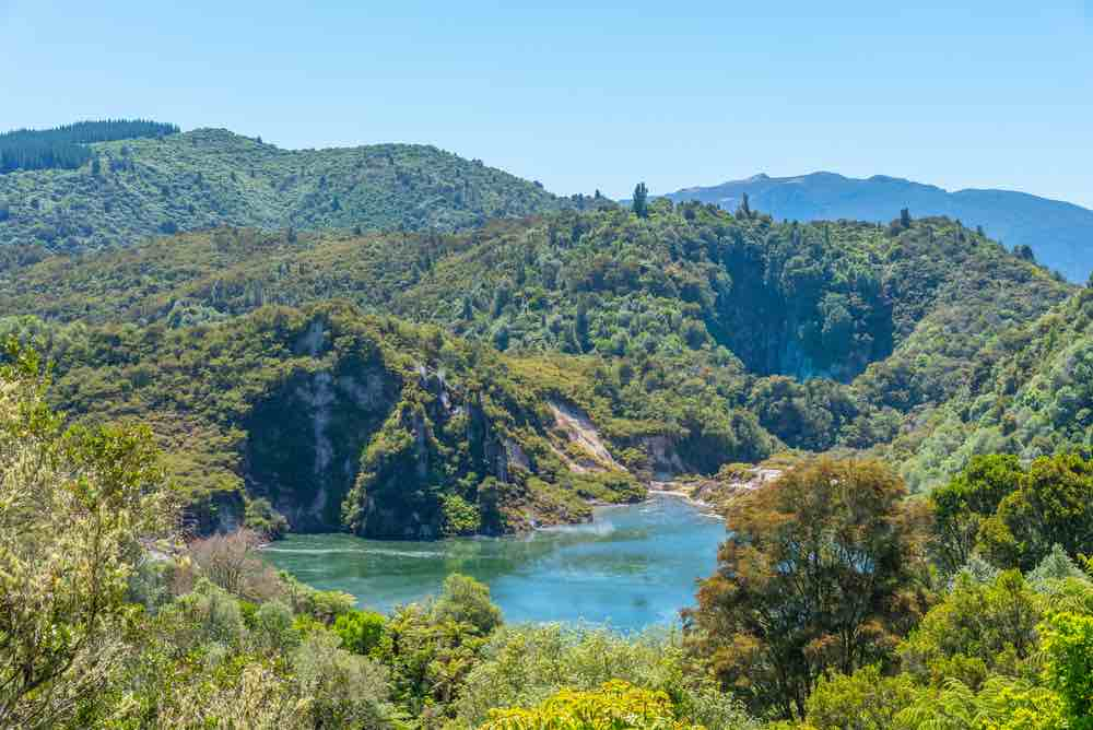 Visiting Waimangu Volcanic Valley is a top thing to do in Rotorua, New Zealand. Image of the Waimangu Volcanic Valley