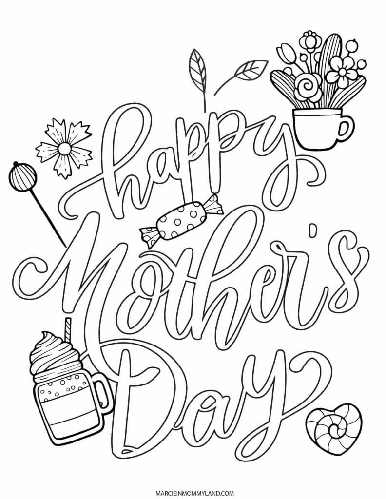Happy Mother's Day coloring page with candy and treats.