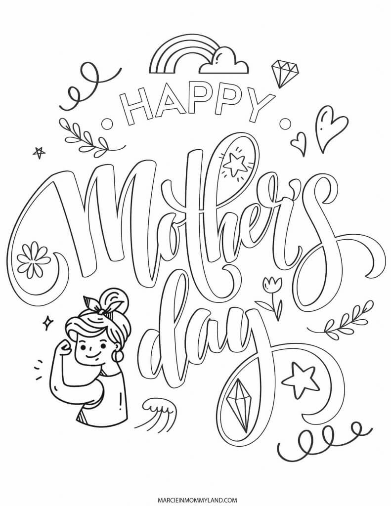 Get this free Mother's Day printable coloring sheet that says Happy Mother's Day.